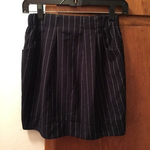 Stripped zipper mini skirt black with pockets